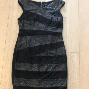 Metallic stripe cocktail dress